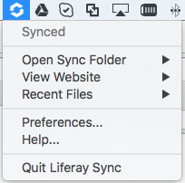 Figure 8: The Liferay Sync menu in the Windows task bar and Mac menu bar gives you quick access to Sync.