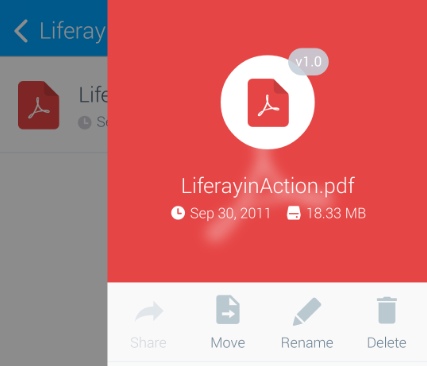Figure 6: The badge on the files icon shows the files version in the Liferay DXP instance. You can also share files that youve downloaded.