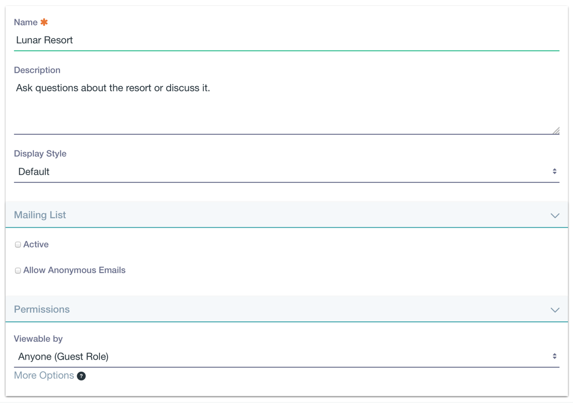 Figure 2: You have several options to create a message board category for your needs.