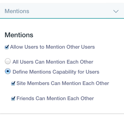 Figure 4: From Instance Settings in the Control Panel, you can enable or disable the Mentions feature for all of the Virtual Instances sites.