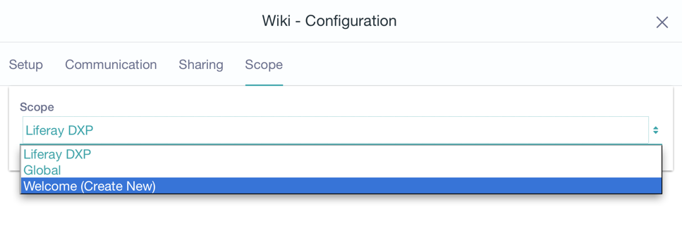 Figure 11: Here the user has selected to create a new Wiki application instance scoped to the current page named My Wiki