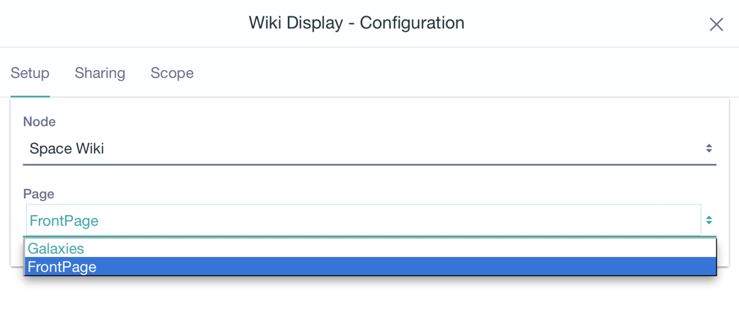 Figure 13: The Wiki Display lets users explore a wiki node, starting from one of its pagesthe front page, typically.
