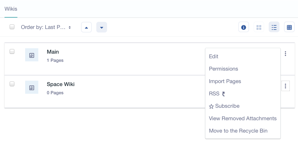 Figure 3: The Wiki application lists all of its wiki nodes. Each nodes options icon menu lists node configuration screens and node actions you can perform.