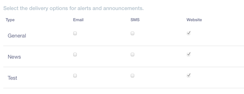 Figure 2: Each user can choose how they receive alerts and announcements.