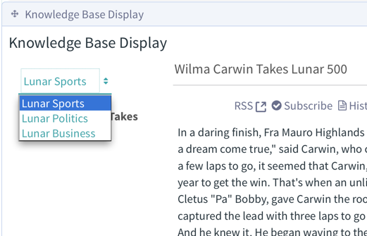 Figure 7: Knowledge Base Displays content folder feature lets users switch between different sets of articles.
