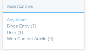 Figure 5: Click the Any Asset link to clear the filtering for a facet. Now all the available asset types are visible.