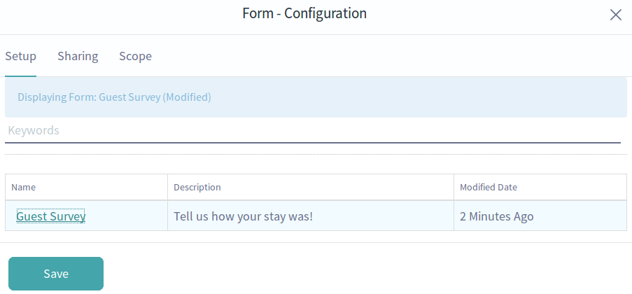Figure 7: Lunar Resort Guests can access a simple form to record their feelings about the resort.
