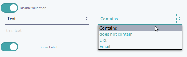Figure 5: You can validate text submissions for text fields.