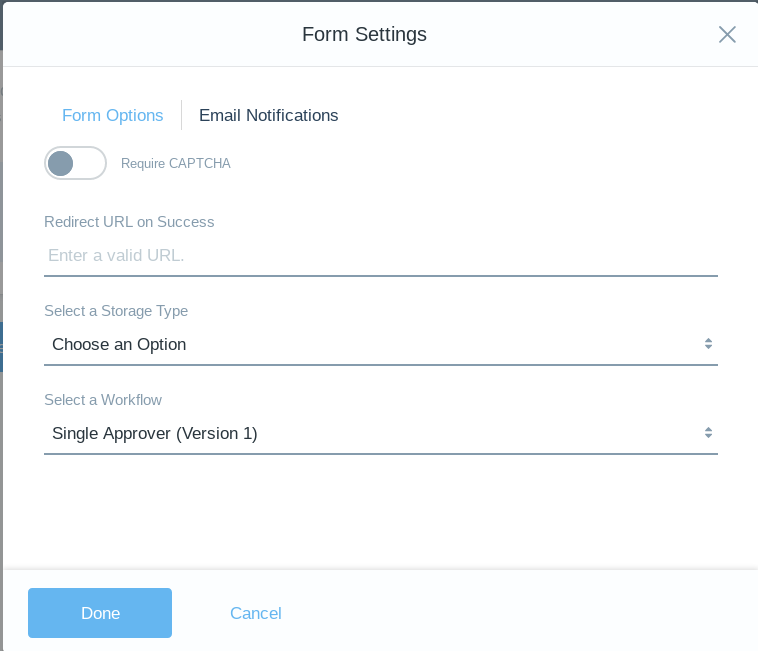 Figure 4: Enable workflow on each forms entries in the Form Settings window.