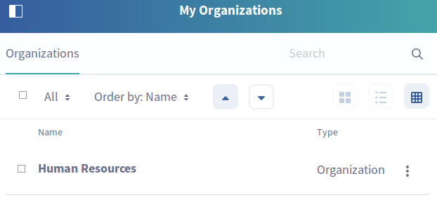 Figure 1: The My Organizations application lets Organization Administrators manage their organizations in their personal site.