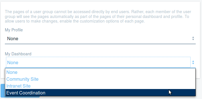 Figure 9: Selecting a site template under My Dashboard creates a private site for a user group.