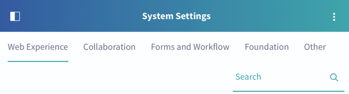 Figure 2: System Settings are organized by component.