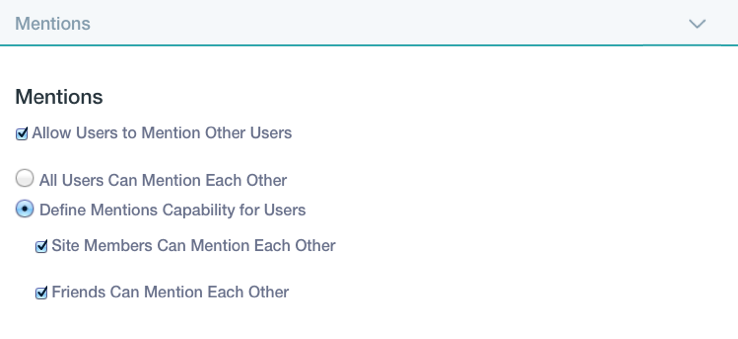 Figure 2: You can configure the Mentions capability throughout a Liferay instance.