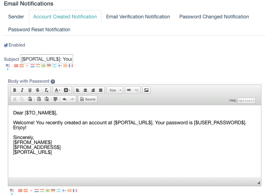 Figure 4: You can customize the email template for the email messages sent to users who have just created their accounts.
