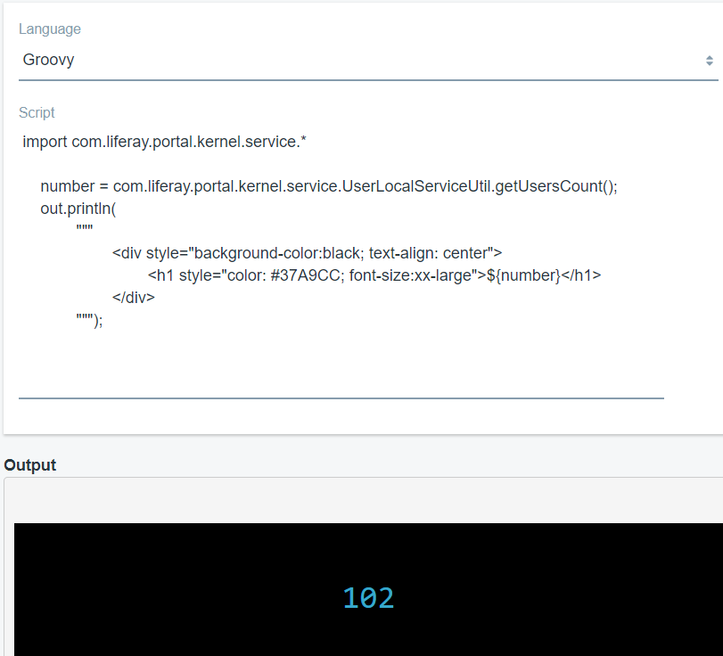 Figure 2: Heres an example of invoking a Groovy script that embeds HTML markup in the output of the script.