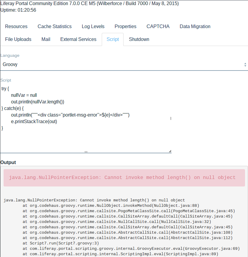 Figure 3: Heres an example of a Groovy script that catches exceptions and prints exception information to the script console.