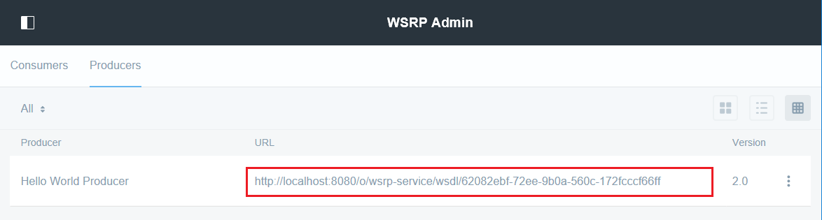 Figure 3: You can copy the WSDL document URL for using the producers portlets in a consumer.