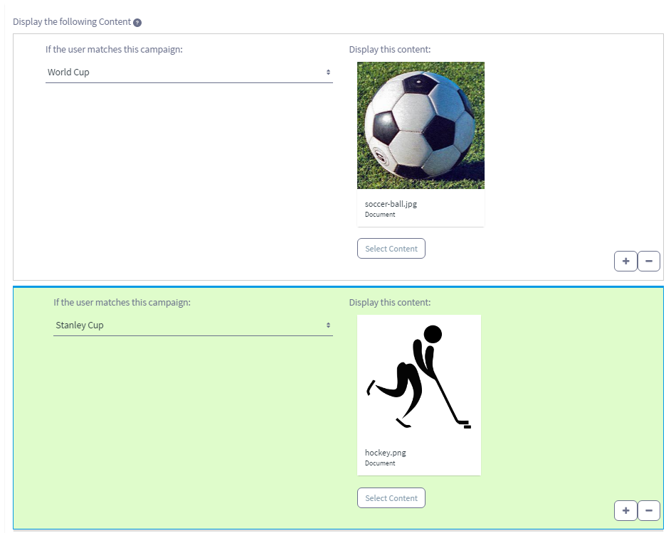 Figure 4: The rules for configuring the Campaign Content Display application to display content are similar to the rules of the User Segment Content Display application, but simpler.