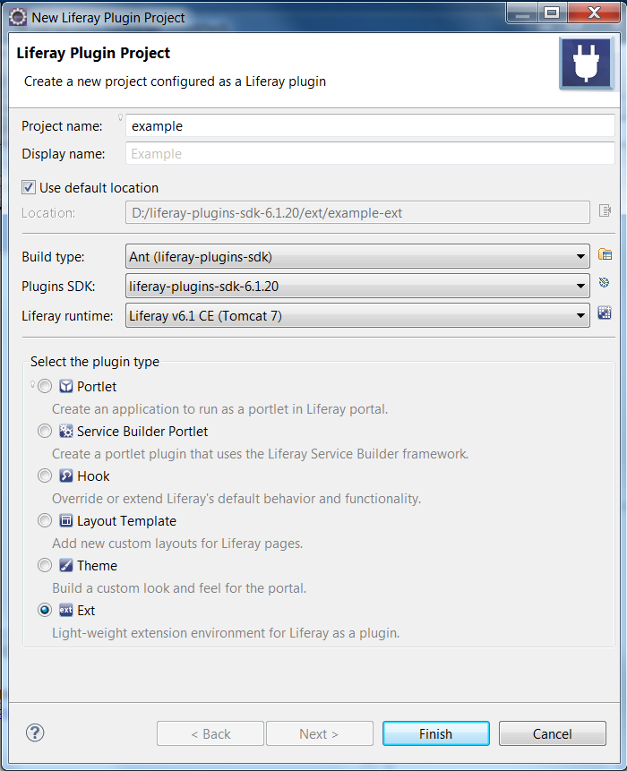 Figure 8.1: You can even create an Ext plugin project with Liferay IDE.