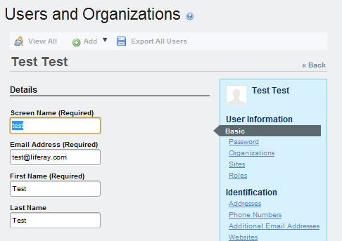 Figure 8.12: You should only see user fields for screen name, email address, first name, and last name