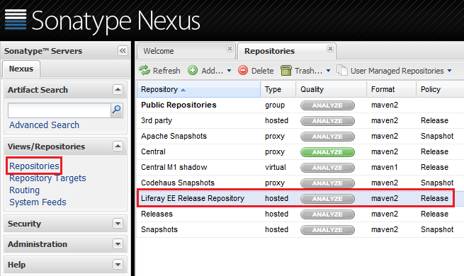 Figure 9.4: You can easily navigate to your Liferay release repository in Nexus.