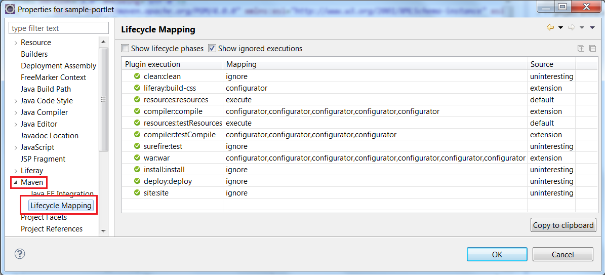 Figure 9.6: View your projects lifecycle mappings to verify successful plugin execution.