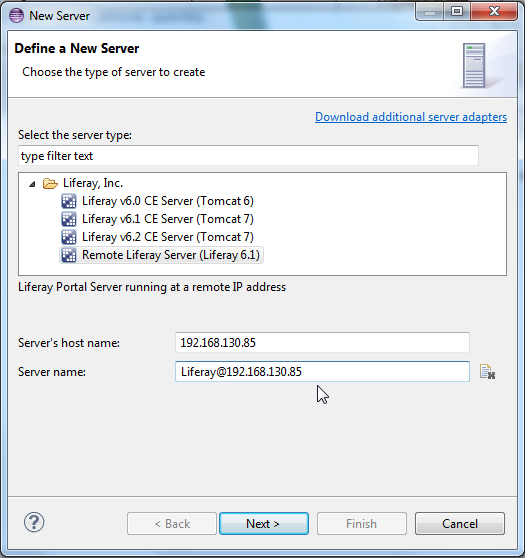 Figure 10.15: Define the remote Liferay server.