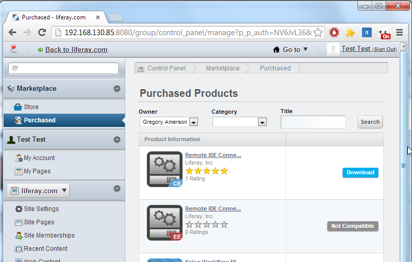 Figure 10.16: Click Purchased in the Marketplace section of the Control Panel to download and install the Remote IDE Connector application that you purchased.