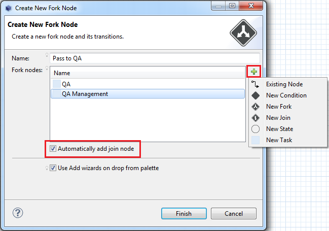 Figure 10.23: You can select what to fork and whether to automatically create a join node.
