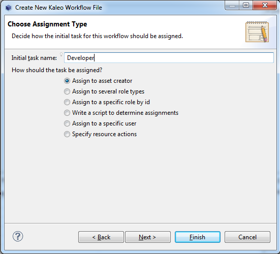 Figure 10.21: When choosing an assignment type for a task node, you are given multiple options.