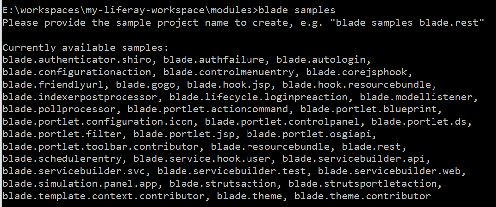 Figure 4: The blade samples command lists the names of sample modules developers can create, examine, and modify to meet their needs.