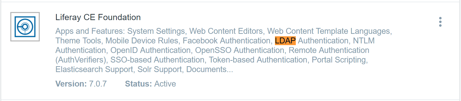 Figure 1: The Liferay Foundation app suite contains the LDAP Authentication application.