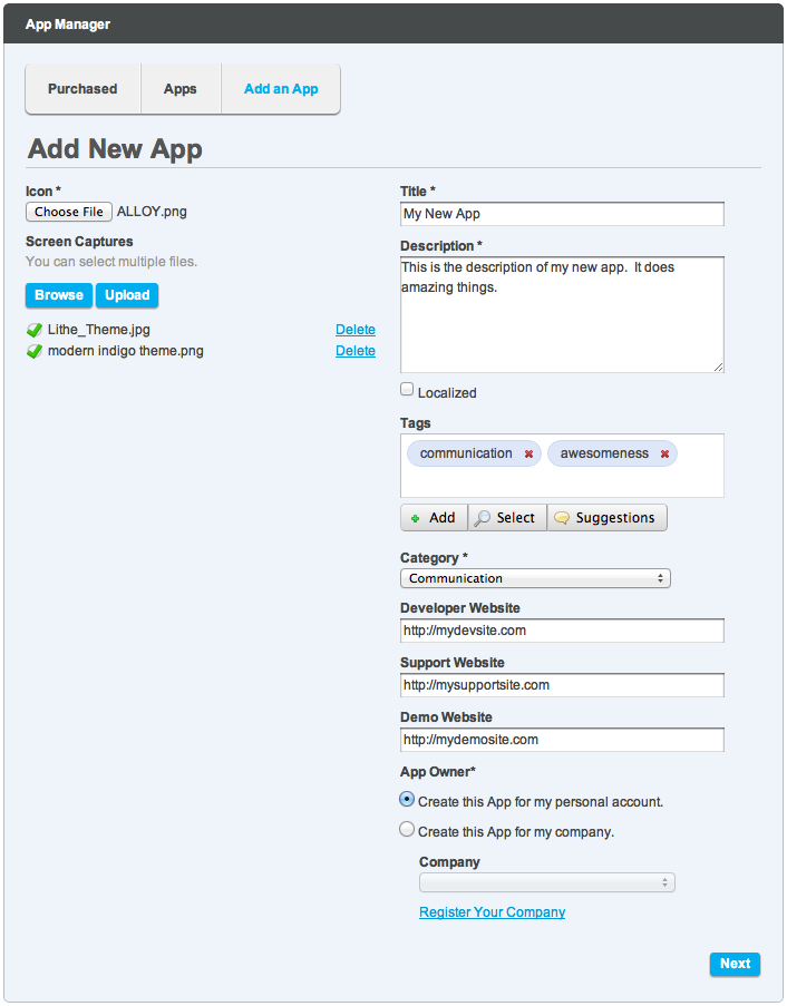 Figure 15.4: Add all the details about your app, including tags, categories, and links to your site.