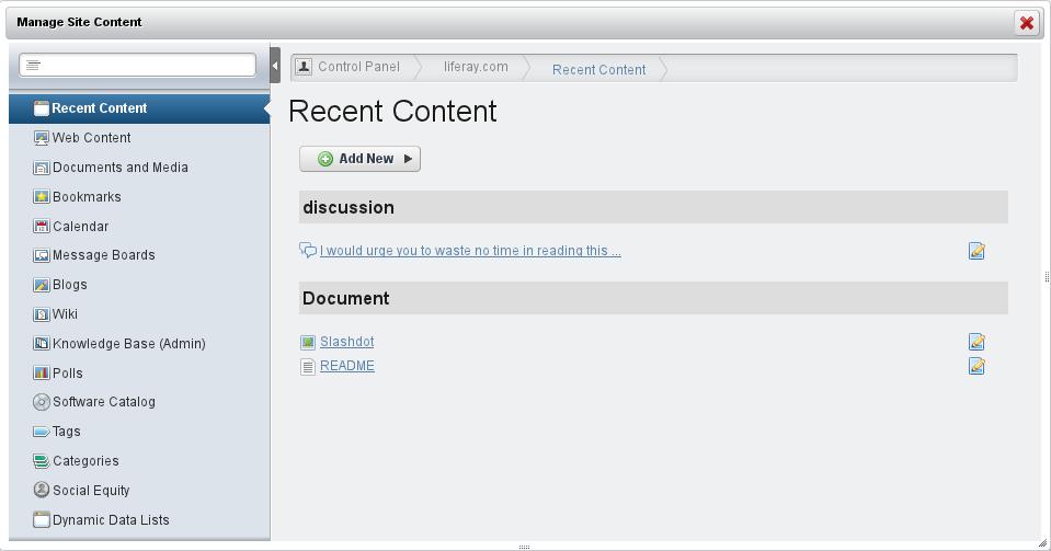 Figure 2.9: Site Content