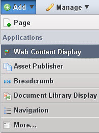 Figure 2.18: Adding the Web Content Display Portlet