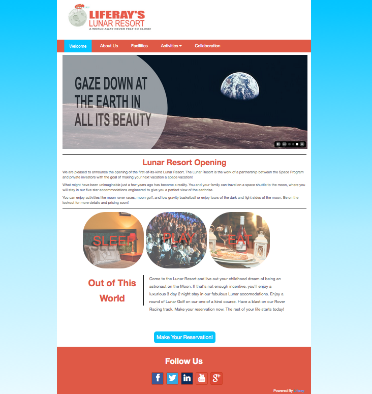 Figure 1: The Lunar Resort example theme upgraded in this tutorial uses a clean, minimal design.