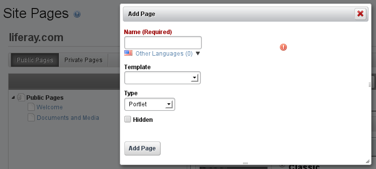 Figure 3.15: Selecting a Page Template