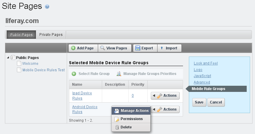 Figure 3.30: You can select a mobile device rule group to apply for a site or page from the Site Pages section of the Control Panel.
