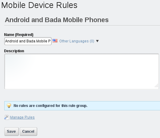 Figure 3.31: After adding a new rule, youll see a message indicating that no rules have been configured for the rule group.