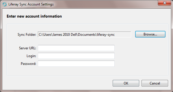 Figure 4.21: The first time you run Liferay Sync, youll have to tell it how to communicate with your Liferay server.
