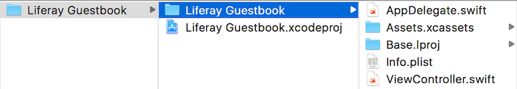 Figure 2: On your file system, the Liferay Guestbook root project folder contains the apps Liferay Guestbook folder. The latter is selected in this screenshot.