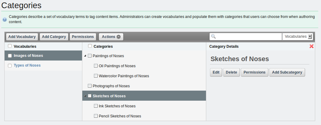 Figure 5.3: Categories Administration Page