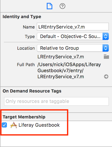 Figure 6: Each *.m file in the Guestbook Mobile SDK must be part of the Liferay Guestbook target.