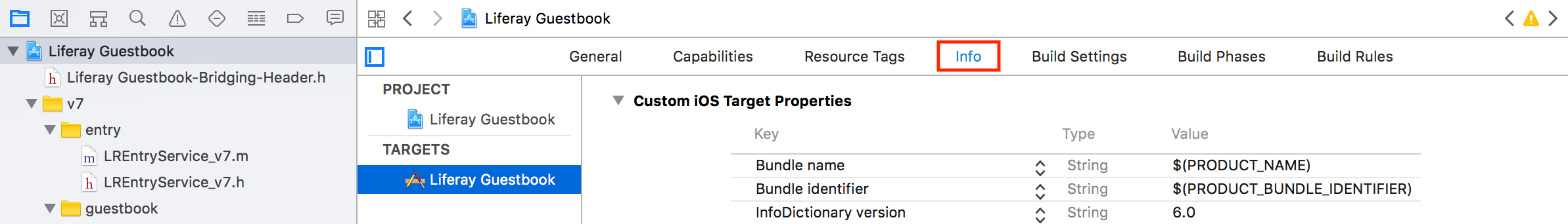 Figure 12: Youll disable App Transport Security in the Info tab.