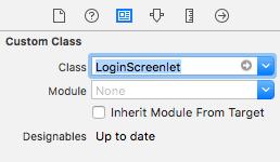 Figure 2: You must set the views Custom Class to LoginScreenlet.