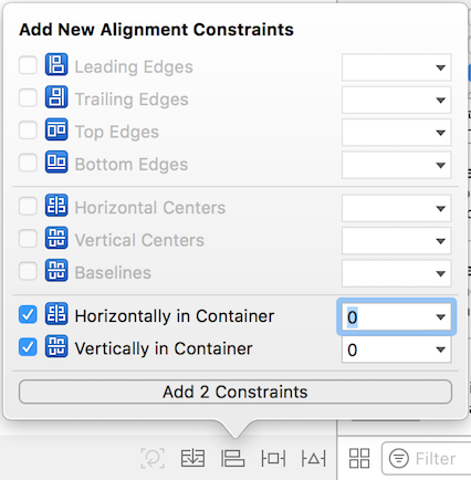Figure 3: These alignment constraints center Login Screenlet in the scene.