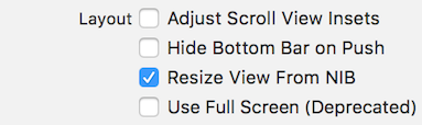 Figure 3: Make sure the view controllers Adjust Scroll View Insets option is unchecked in the Attributes inspector.