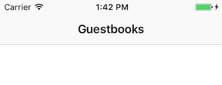 Figure 8: Following successful login, the app now navigates to the empty guestbooks scene.