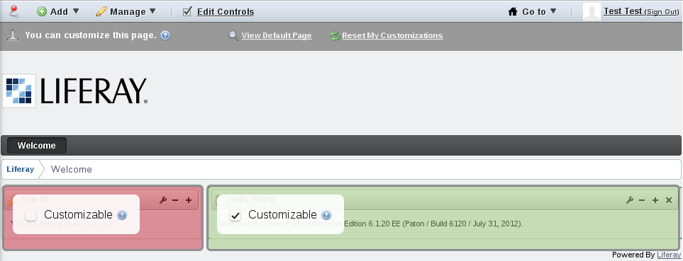 Figure 6.2: Check one or more of the Customizable boxes to allow site members to customize certain sections of the page.