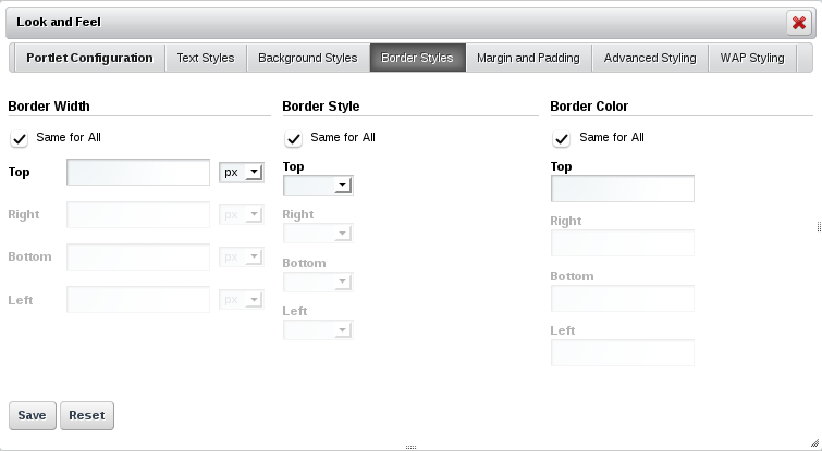 Figure 7.4: The Border Styles tab lets you specify a border width, style, and color for each side of the portlet.
